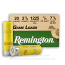 "Bulk 20 ga - 2-3/4"" 7/8 oz #7.5 Game Load - Remington - 250 Rounds"