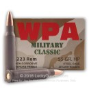 Wolf WPA Military Classic Ammo 223 Rem Ammunition 55 grain hollow point