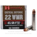 22 WMR Ammo For Sale - 45 gr Critical Defense by Hornady - Hornady 22 Magnum Rimfire Ammunition In Stock - 50 Rounds