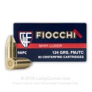 Cheap 9mm Ammo For Sale - 124 Grain Truncated FMJ Ammunition in Stock by Fiocchi - 50 Rounds