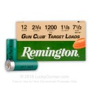 "Bulk 12 ga - 2-3/4"" 1-1/8 oz #7.5 Target Load - Remington Gun Club - 250 Rounds"