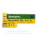 "20 ga Ammo For Sale - 2-3/4"" #3 Buck Ammunition by Remington"