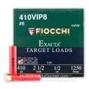 """Cheap 410 Bore Ammo For Sale - 2-1/2"""" 1/2 oz. #8 Shot Ammunition in Stock by Fiocchi Exacta Target Loads - 250 Rounds"""