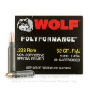 Bulk Wolf WPA Polyformance Ammo 223 Rem Ammunition 62 grain full metal jacket - 500 Rounds
