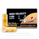 "Cheap 20 ga High Velocity Shot Shells For Sale - 2-3/4"" 1 oz  #6 Shot by by Fiocchi - 25 Rounds"