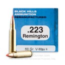 Cheap 223 Rem Ammo For Sale - 60 Grain Hornady V-MAX Ammunition in Stock by Black Hills Ammunition Remanufactured - 50 Rounds