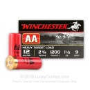 "Bulk 12 Gauge Ammo For Sale - 2-3/4"" 1-1/8 oz. #9 Shot Ammunition in Stock by Winchester AA - 250 Rounds"