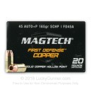 45 ACP +P Ammo For Sale - 165 gr SCHP - Magtech First Defense Ammunition In Stock - 20 Rounds