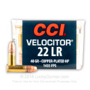 22 LR Ammo For Sale - 40 gr CPHP - CCI Velocitor Ammunition In Stock - 5000 Rounds