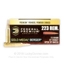 Premium 223 Rem Ammo For Sale - 73 Grain Berger BTHP Ammunition in Stock by Federal Gold Medal - 20 Rounds