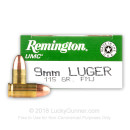 9mm Ammo For Sale - 115 gr MC - Remington UMC Ammunition In Stock - 50 Rounds