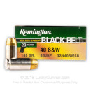 Self Defense 40 S&W Ammo For Sale - 180 Grain BBJHP Ammunition in Stock by Remington Golden Saber Black Belt - 20 Rounds