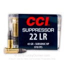 Cheap 22 LR Ammo For Sale - 45 Grain LHP Ammunition in Stock by CCI Suppressor - 50 Rounds