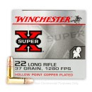 Bulk 22 LR Ammo For Sale - 37 gr Copper Plated Hollow Point Ammunition - Winchester Super-X - 500 Rounds