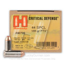 Cheap 44 S&W Special Concealed Carry Ammo - 165 gr JHP Critical Duty - Hornady Ammunition - 20 Rounds