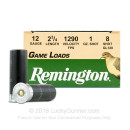 "Cheap 12 Gauge Ammo For Sale - 2-3/4"" 1oz. #8 Shot Ammunition in Stock by Remington Game Loads - 250 Rounds"