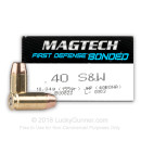 Cheap 40 S&W Ammo For Sale - 155 Grain Bonded JHP Ammunition in Stock By Magtech First Defense - 50 Rounds