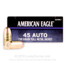Cheap 45 ACP Ammo For Sale - 230 Grain FMJ Ammunition in Stock by Federal American Eagle C.O.P.S. - 50 Rounds