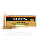 Bulk Match 7.62x51mm Sierra MatchKing Federal Premium 175 grain hollow point boat tail ammunition - 500 Rounds