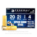 "Bulk 20 Gauge Ammo For Sale - 2-3/4"" 3/4 oz. #4 Steel Shot Ammunition in Stock by Federal Speed-Shok - 250 Rounds"