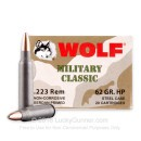 Cheap 223 Rem Ammo For Sale - 62 gr HP 223 Ammunition In Stock by Wolf - 20 Rounds