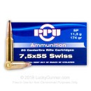 Cheap 7.5x55 Swiss Ammo For Sale - 174 gr SP Ammunition In Stock by Prvi Partizan - 20 Rounds