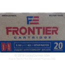 Premium 5.56x45 Ammo For Sale - 62 Grain BTHP Match Ammunition in Stock by Hornady Frontier - 20 Rounds