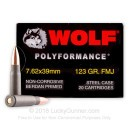 Cheap Wolf WPA Polyformance Ammo - 7.62x39 123 grain FMJ Ammo - 20 Rounds