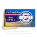 Premium 6.5x55mm Ammo For Sale - 120 Grain Hollow Point Boat Tail Ammunition in Stock by Prvi Partizan - 20 Rounds