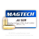 40 S&W Subsonic Ammo For Sale - 165 gr FMJ - Magtech Ammunition In Stock