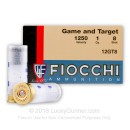 "Cheap 12 Gauge Ammo For Sale - 2-3/4"" 1 oz. #8 Shot Ammunition in Stock by Fiocchi Game and Target - 25 Rounds"