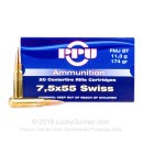 7.5x55 Swiss Ammo For Sale - 174 gr FMJBT Ammunition In Stock by Prvi Partizan