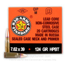 Cheap 7.62x39mm Ammo For Sale - 124 gr BTHP Ammunition in Stock by Century Arms Red Army Standard - 1000 Rounds