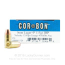 9mm Defense Ammo For Sale - 115 gr +P JHP Corbon Ammunition In Stock - 20 Rounds