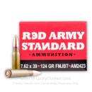 Bulk 7.62x39mm Ammo For Sale - 124 Grain FMJ-BT Ammunition in Stock by Red Army Standard - 1000 Rounds