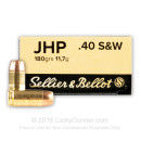 Cheap 40 S&W Ammo For Sale - 180 Grain JHP Ammunition in Stock by Sellier & Bellot - 50 Rounds