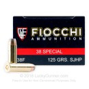 38 Special Ammo For Sale - 125 gr SJHP Fiocchi Ammunition In Stock