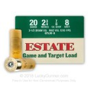 """Cheap20 Gauge Ammo For Sale - 2-3/4"""" 2-1/2 Dram 7/8 oz. #8 Shot Ammunition in Stock by Estate Game and Target - 25 Rounds"""