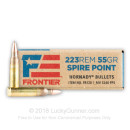 Cheap 223 Rem Ammo For Sale - 55 Grain SP Ammunition in Stock by Hornady Frontier - 20 Rounds