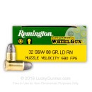 Cheap 32 S&W Ammo For Sale - 88 Grain LRN Ammunition in Stock by Remington Performance Wheelgun - 50 Rounds