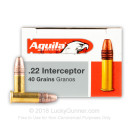 Cheap 22 LR Ammo For Sale - 40 Grain CPSP Ammunition in Stock by Aguila Interceptor - 500 Rounds