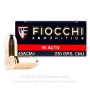 Cheap 45 ACP Ammo For Sale - 230 Grain CMJ Ammunition in Stock by Fiocchi Shooting Dynamics - 50 Rounds