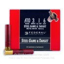 "Bulk 410 Gauge Ammo For Sale - 3"" 3/8oz. #6 Shot Ammunition in Stock by Federal Steel Game & Target - 250 Rounds"