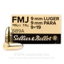 Sellier & Bellot 9mm Ammo - 115 gr FMJ