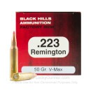 Premium 223 Rem Ammo For Sale - 50 Grain V-Max Ammunition in Stock by Black Hills Ammunition - 50 Rounds