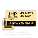 Cheap 45 ACP Ammo For Sale - 230 Grain Jacketed Hollow Point Ammunition in Stock by Sellier & Bellot - 1000 Rounds