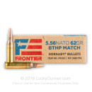 Premium 5.56x45 Ammo For Sale - 62 Grain BTHP Match Ammunition in Stock by Hornady Frontier - 500 Rounds