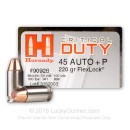 BULK 45 ACP Defense Ammo For Sale - 220 gr +P JHP FTX Flex-Tip Hornady Critical Duty Ammunition In Stock - 200 Rounds