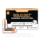 Premium 9mm Ammo For Sale - 124 Grain Gold Dot Jacketed Hollow Point Ammunition in Stock by Speer Gold Dot - 20 Rounds