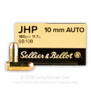 Bulk Self-Defense 10mm Auto Ammo For Sale - 180 Grain JHP Ammunition in Stock by Sellier & Bellot - 1000 Rounds